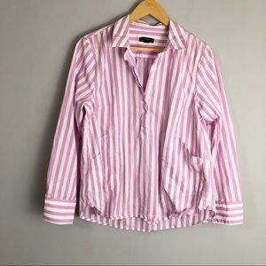 J Crew Striped Pink Collared Popover Tunic Shirt